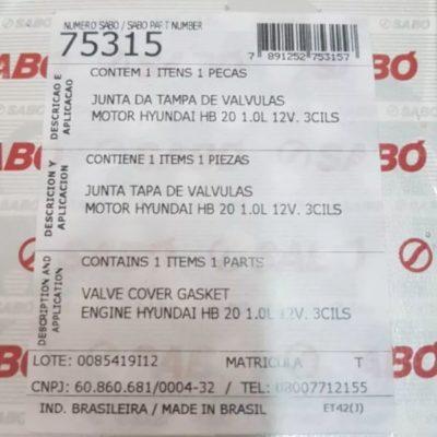 Junta Tampa Válvula Hyndai Hb20 1.0L 3 Cil 12v - Sabo75315 - Curitiba